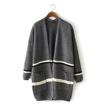 2016 New Fashion Women Elegant Gray Knitted Striped Pattern Thick Sweaters Cardigan Long Sleeve Coats Casual Brand Outwear