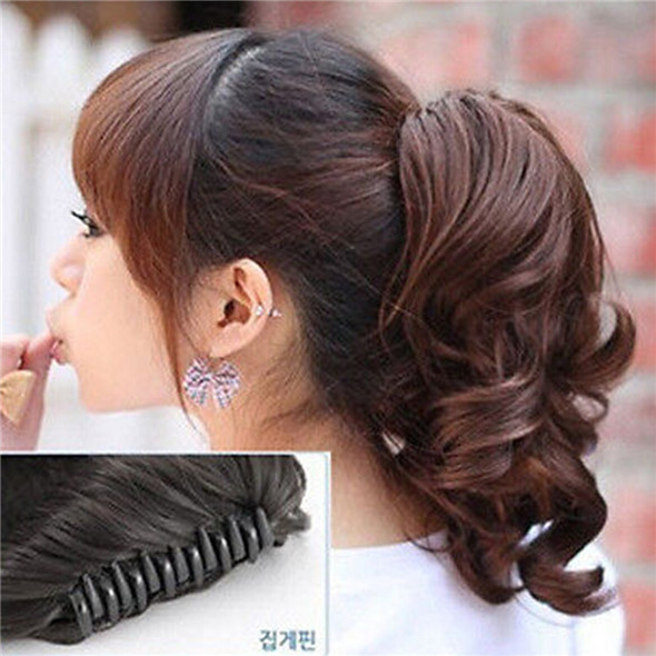 Vogue Women Hairpiece Synthetic Short Wavy Curly Claw Hair Ponytail Clip In on Hair Extensions(China (Mainland))