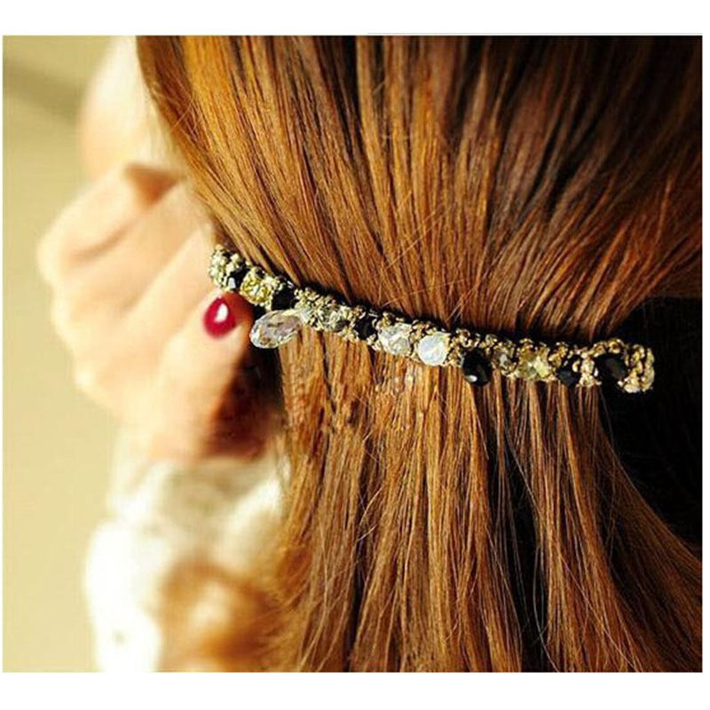 Latest Female Lady Girl Korean Hair bands Grips Headbands Crystal Rhinestone Barrette Hairpin Hair Clip Accessories For Woman(China (Mainland))