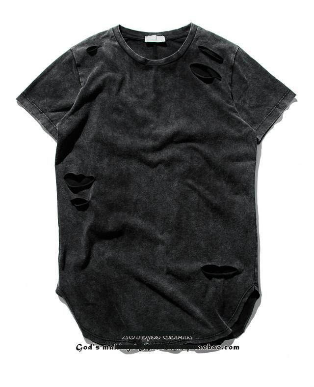 2016 NEW Top kanye west yeezy retro HandMade tie dye ripped hole short Sleeve T-Shirt hiphop justin bieber Men curved hem tee(China (Mainland))