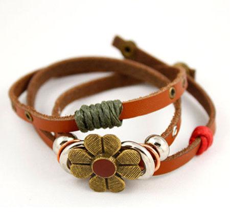 Vintage Daisy Flowers Multiple Cortical Series Bracelets, Beautiful Flower Charm Bracelet Gift. Fashion Leather Bracelet Jewelry(China (Mainland))