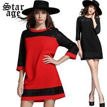 XL-5XL Big Size Women Dress 2015 Autumn Plus Size Ladies Plaid Patchwork Long Sleeve Knee Length Casual Dresses Clothes 2036(China (Mainland))