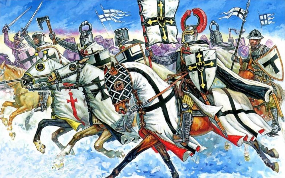 golf winter snow attack mounted knights standard-bearer the banner Teutonic symbolism 4 Size Home Decoration Canvas Poster Print(China (Mainland))