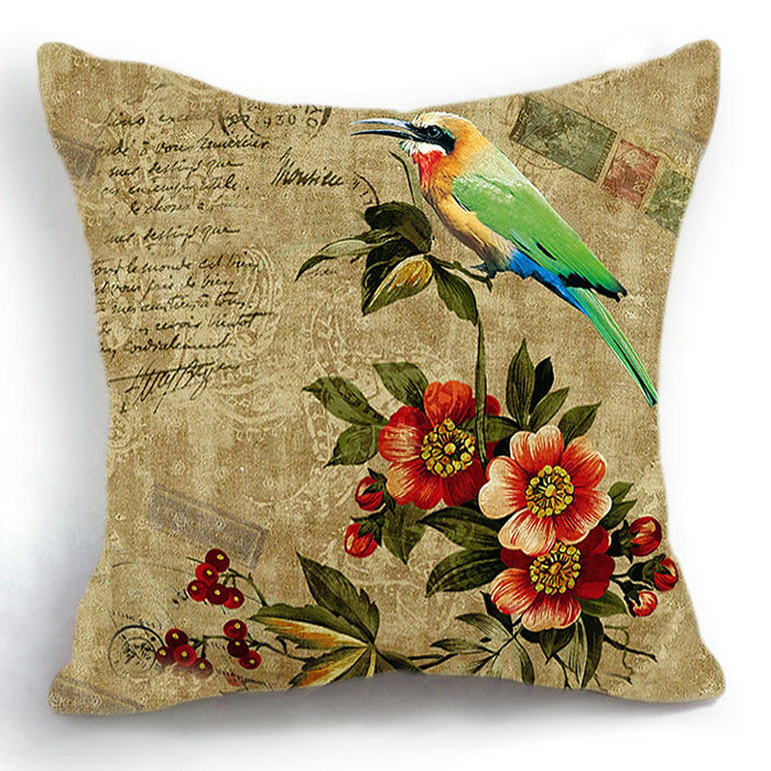 Retro Vintage Floral Bird Home Decor Sofa Decorative Pillow Case Funny Cushion Cover Automotivo Cojines almofadas para cama