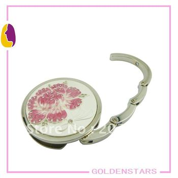 shipping free wholesale mix color flower metal bag holder promotional gift for lady