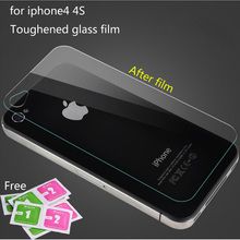 2016 High quality 0.3mm Back Premium Tempered Glass Screen Protector for iPhone 4 4s Back Protective Film Free Shipping