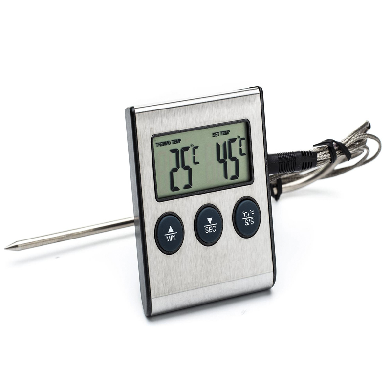 Oven Probe Turkey/Chicken/Steak Meat BBQ Grill Fry Thermometer&Timer,Instant Read Smoker Kitchen Food Cooking Temperature Alarm(China (Mainland))