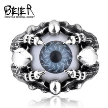 BEIER Wholesale New Fashion Cool Skull Claw Vivid Eye Rings For Man Punk Biker Style Gray/Blue Color  BR8-203(China (Mainland))