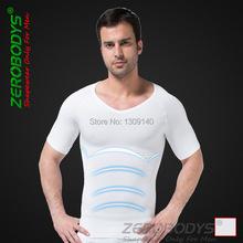 Mens Slimming Body Shaper Tummy/Belly/Abdomen Buster Waist Trainer Tee Shirt White S,XL Underwear Shapewear Wholesale B320