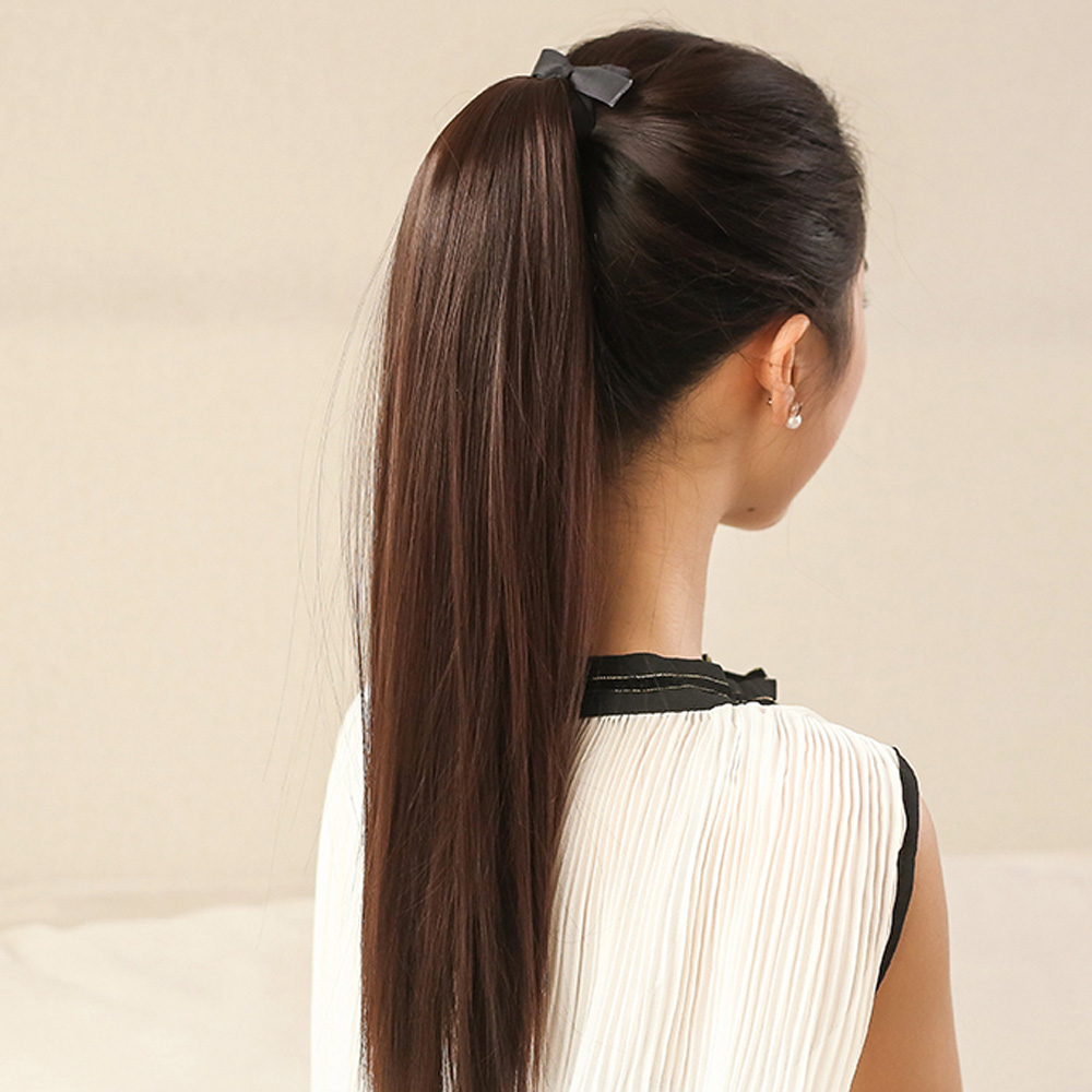 Hot sale NEW Fashion Women 5Clips Clip in Long Straight Ponytail Hairpiece Slice Synthetic Wig 60cm(China (Mainland))