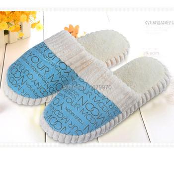 2015 Winter Slippers Warm Shoes Men&Women Cotton-padded Lovers Slippers Letter Pattern Unisex Floor shoes Size 36-45