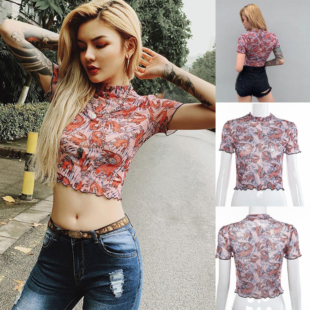 Fashion Women Mesh Sheer See-through 1//2 Sleeve Crop Top T Shirt Blouse 2018 LG
