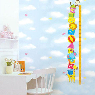 Zoo Animals Kids Grow Up Height Chart Wall Stickers Decor Decals Nursery Bedroom(China (Mainland))