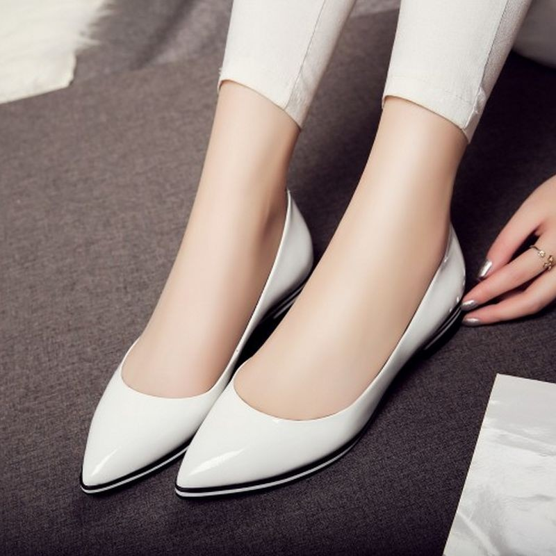 ladies pointed toe real natrual genuine leather flat shoes women sexy spring fashion footwear brand  shoes size 34-39 R08406