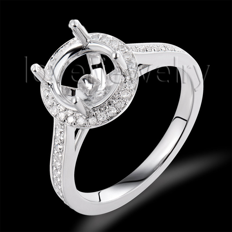 Vintage Jewelry Sets Round 8mm 14kt White Gold 0.34Ct Diamond Engaement Semi-Mount Ring<br><br>Aliexpress