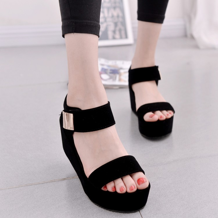 Summer Platform Wedges Sandals Fashion Women's Shoes Korea Style Ladies Flat Sandals Dress Shoes Black White Shoes(China (Mainland))