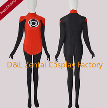 Free Shipping DHL Red Lantern Corps DC Comics Superhero Costume Halloween Party Cosplay Black And Red Lycra Zentai Suit SH1801