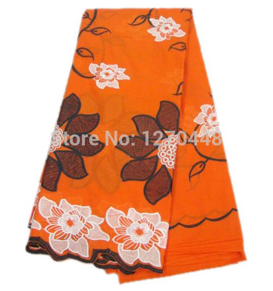(5 yards/many) sunflower orange flower design!Free shipping African lace fabric!Fashion female tulle textile clothing patterns(China (Mainland))