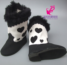 """Zapatos de muñeca Se Ajusta para 18 """"45 CM Muñeca American Girl Blanco Y Negro Botas de Nieve Zapatos de Accesorios Para Muñecas Madame Alexander Zapatos de Muñeca(China (Mainland))"""