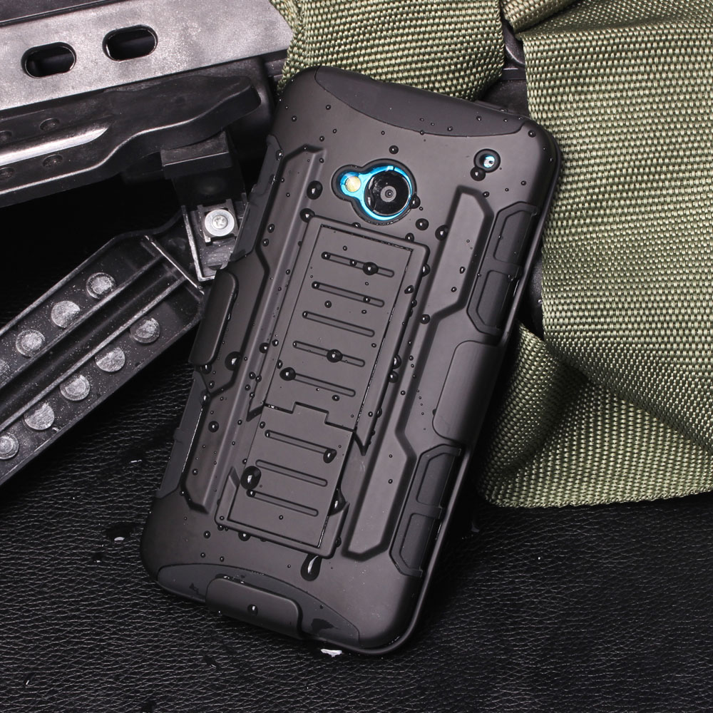 For HTC One M7 Case, Future hard Shockproof Hybrid Holster Hard Case For HTC One M7 801E Mobile Phone Protective Shell Cases(China (Mainland))