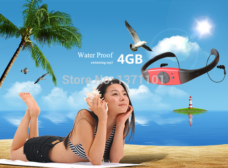New Hot 4GB Waterproof MP3 Music Player FM Radio Swimming Surfing SPA IPX8 Sports P0005343 Free Shipping(China (Mainland))