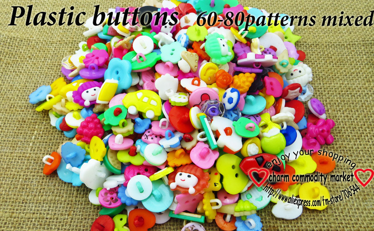 200PCS 60-80Pattern mixed kids plastic button for sewing buttons clothes accessories crafts P-200(China (Mainland))