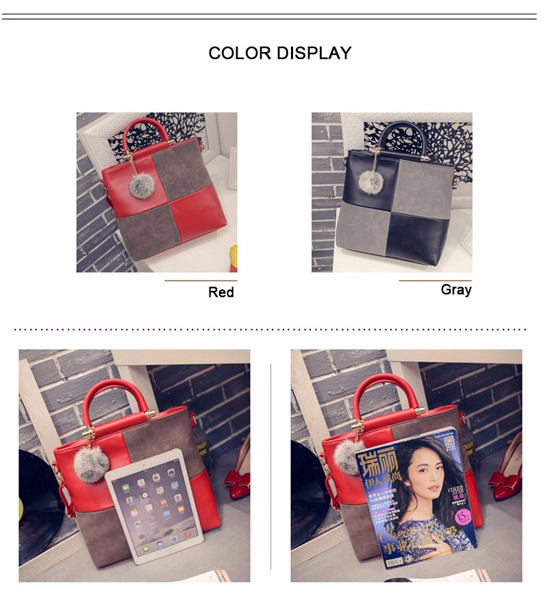 Korean Style Retro Large Handbag Women Classic Patchwork Plaid Hand Bag Vintage Elegant Fashion Splicing Red PU Shoulder Bag