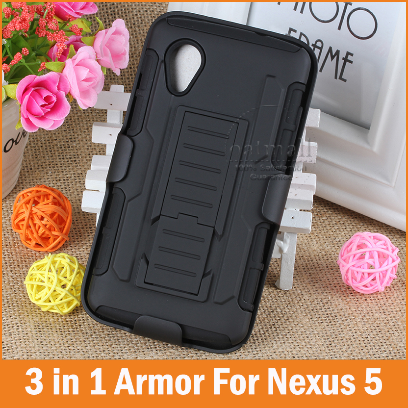 Tough Hybrid Armor for Google LG Nexus 5 case Capa funda 3 in 1 3D Kickstand & Belt Clip Military Style Cover Mobile Phone Bags(China (Mainland))