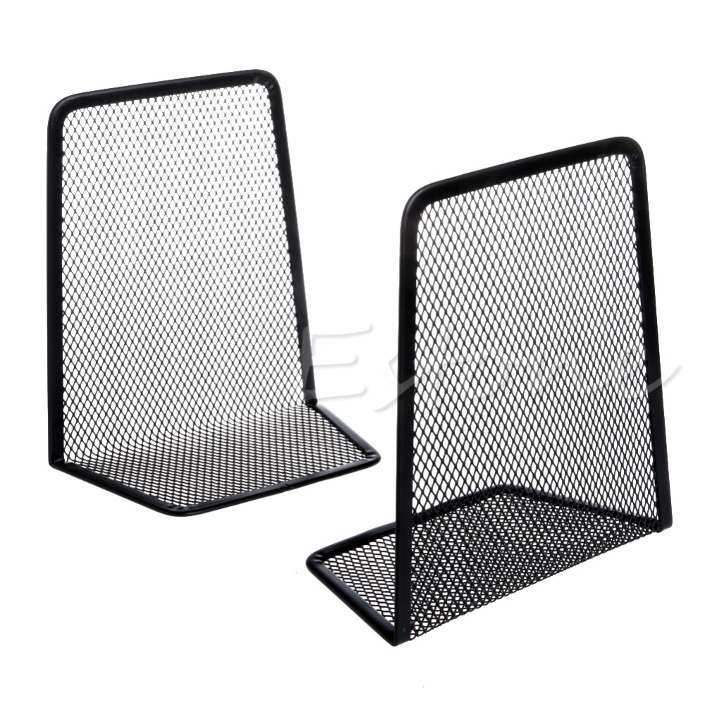 1Pair Black Metal Mesh Desk Organizer Desktop Office Home Bookends Book Holder(China (Mainland))