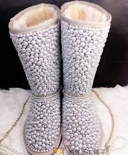Hechos a mano botas de nieve auténtica perla de cuero de vaca botas de nieve rhinestone de la alta calidad botas de invierno de piel envío libre de DHL(China (Mainland))