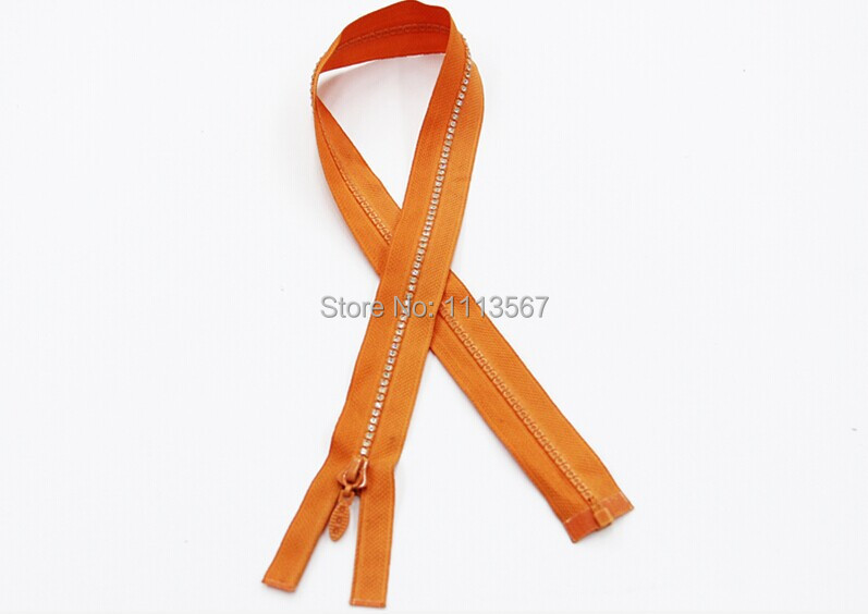 Wholesale 50pieces Orange Nylon Resin Crystal Open-end Zipper Sewing for Cloth Bags 15cm Sewing Zippers Z245(China (Mainland))