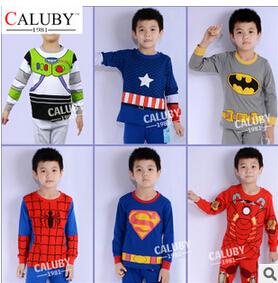 2015 Hot Cartoon Superman Girls Boys Children Sets Toddler Kids Suits Pajama Long Sleeve Clothes Baby Sleepwear - Innocence edge store