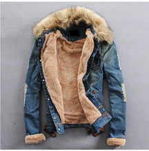 Free pp Sale Men Brand Denim Jacket Male Winter Fur Collar Jeans Coat Wool Thick Outwear Cotton Hooded Plus Size S-XXL 2 Colors(China (Mainland))