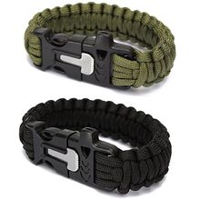 Outdoor Camping Men Paracord Bracelet Rescue Parachute Cord Wristband Emergency Rope Flint Scraper Whistle Buckle Survival Kits(China (Mainland))