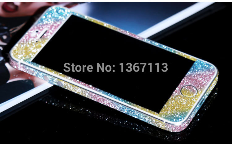 Rainbow Protective Film For iphone 4G 4S Phone Sticker Hot selling Full Body Glitter Bling Phone Sticker Matte Screen Protector