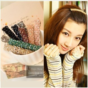 Free shipping Authentic four rows of crystal hairpin Korean word clip top clamp hair accessary for woman(China (Mainland))