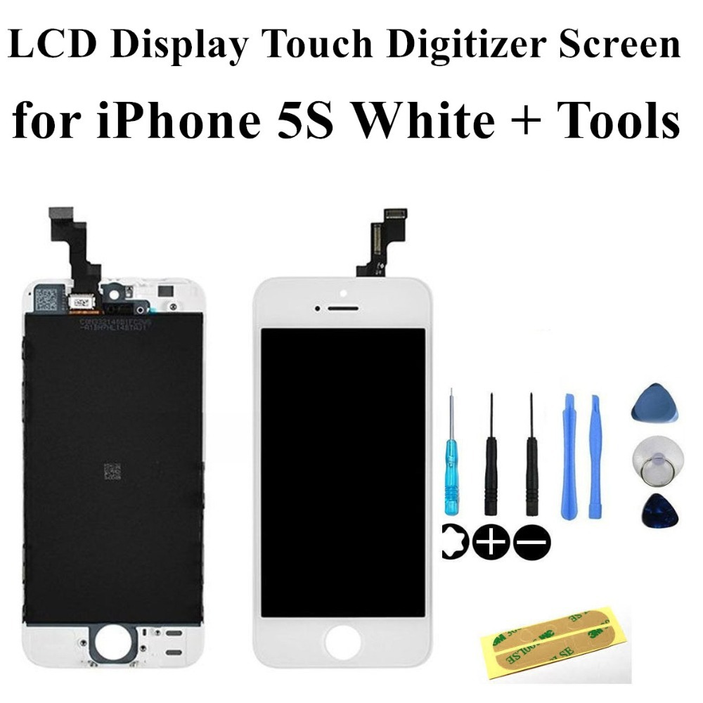 Free shipping New White Replacement Full LCD Display Touch Digitizer Screen Assembly for iPhone 5S White + Tools(China (Mainland))