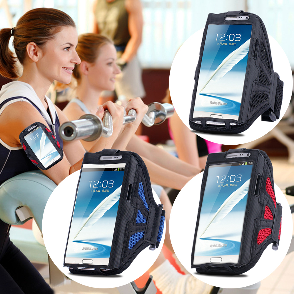 Universal For Samsung Galaxy Note 4 3 2 Sports GYM Running Arm Band Armband Case PU Leather + Nylon Case Cover Phone Wallet Bag(China (Mainland))