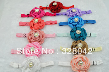 Trail order girl 11colors pearl centre 3' pink satin silk rose flower FOE headband hairband hair accessories 12pcs/lot