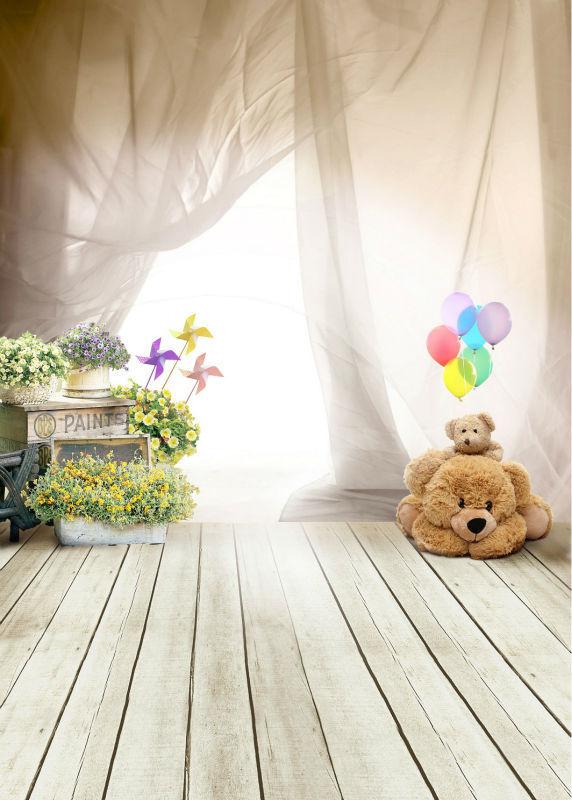 photography backdrops photo props fantasy ballon bear children wooden floor vinyl 5x7ft photo studio stand background