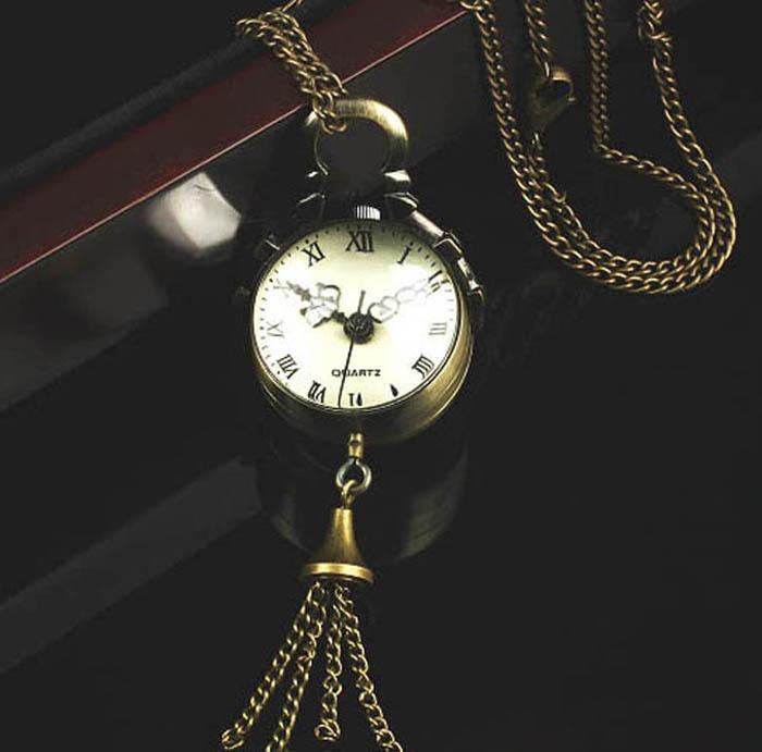 2015 Vintage Bronze Quartz Ball Glass Pocket Watch Necklace Chain Steampunk Jecksion Free shipping&Wholesales(China (Mainland))