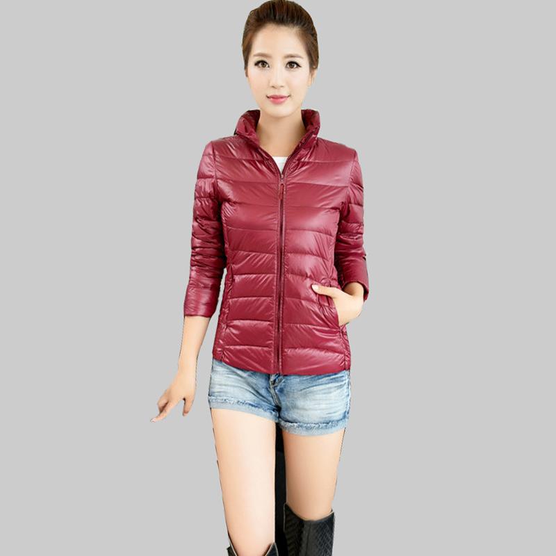 Fashion 2015 Winter Women Ultralight White Duck Down Jacket Warm Parkas Mujer Stand Collar Slim Plus Size Winter Down Coat DQ260