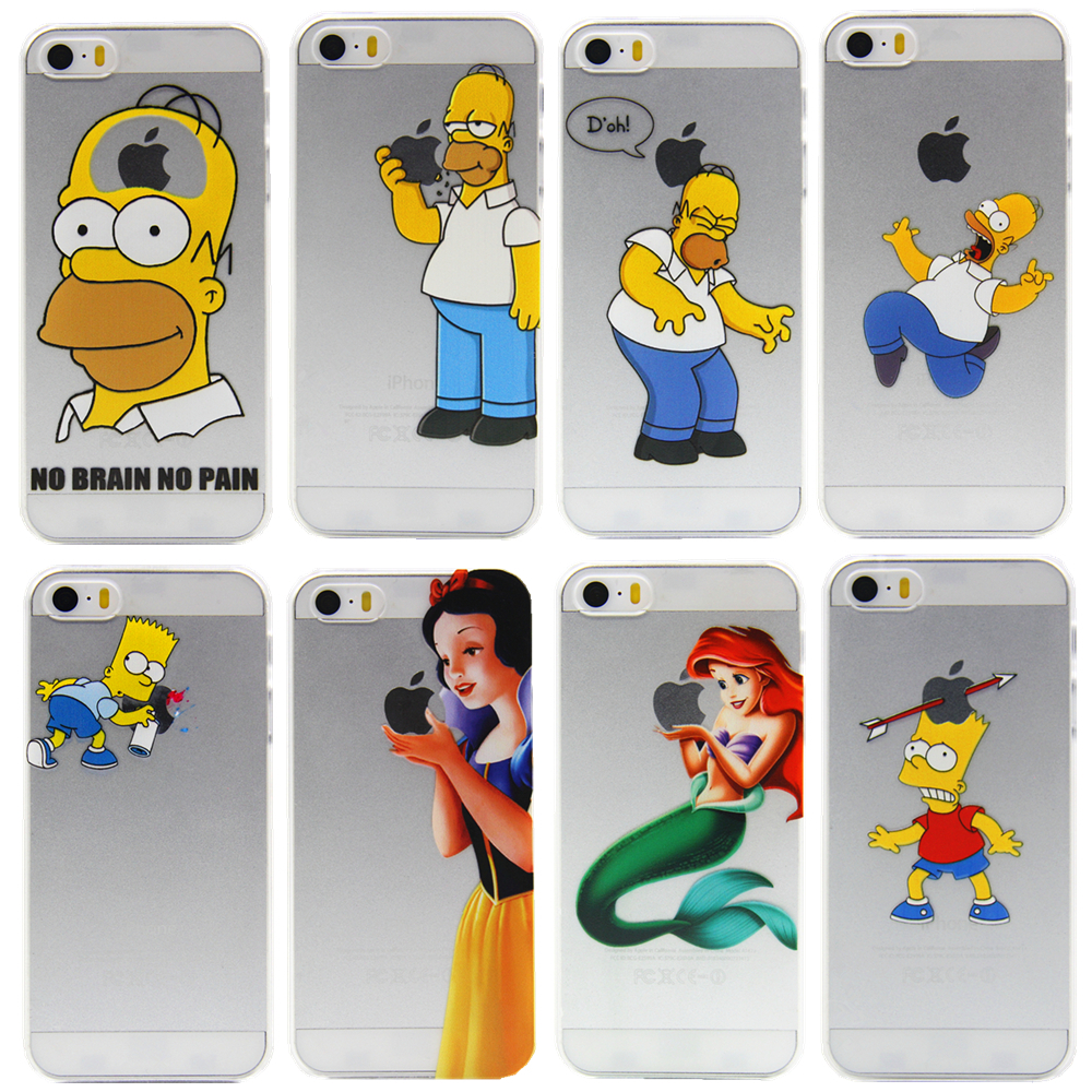 2015 cell phone cases for apple iphone 5 5s case cover luxury transparent hard cute simpsons logo plastic Free shipping(China (Mainland))