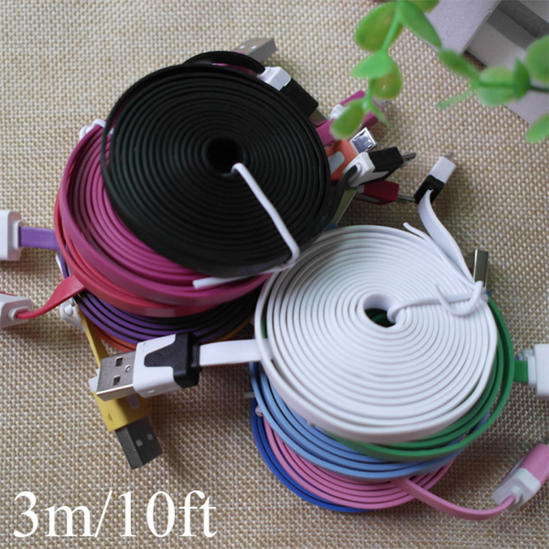 3M/10ft Extend Long Noodle Lace Wire Micro 2.0 USB Data Sync Charging Cable Cords for LG Lenovo Nokia HTC Samsuang Galaxy(China (Mainland))