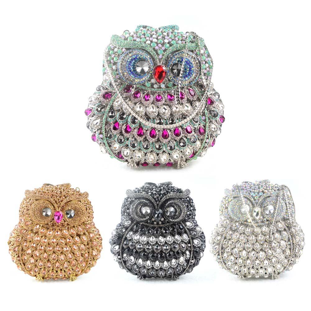 Фотография Women Diamond Owl Pattern Handbag Clutch Bag Rhinestone Stylish Evening Bag Crystal Purse