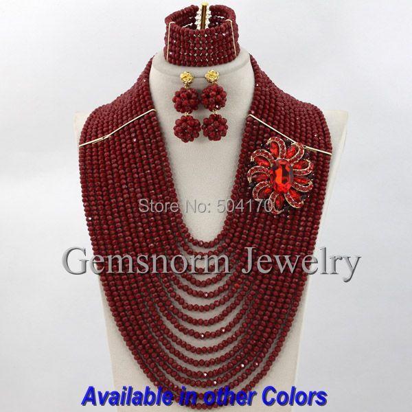 Exclusive Wine African Beads Wedding Jewelry Set 14 Layers Burgundy Indian Bridal Jewelry Set Big Full Set Free Shipping GS361(China (Mainland))