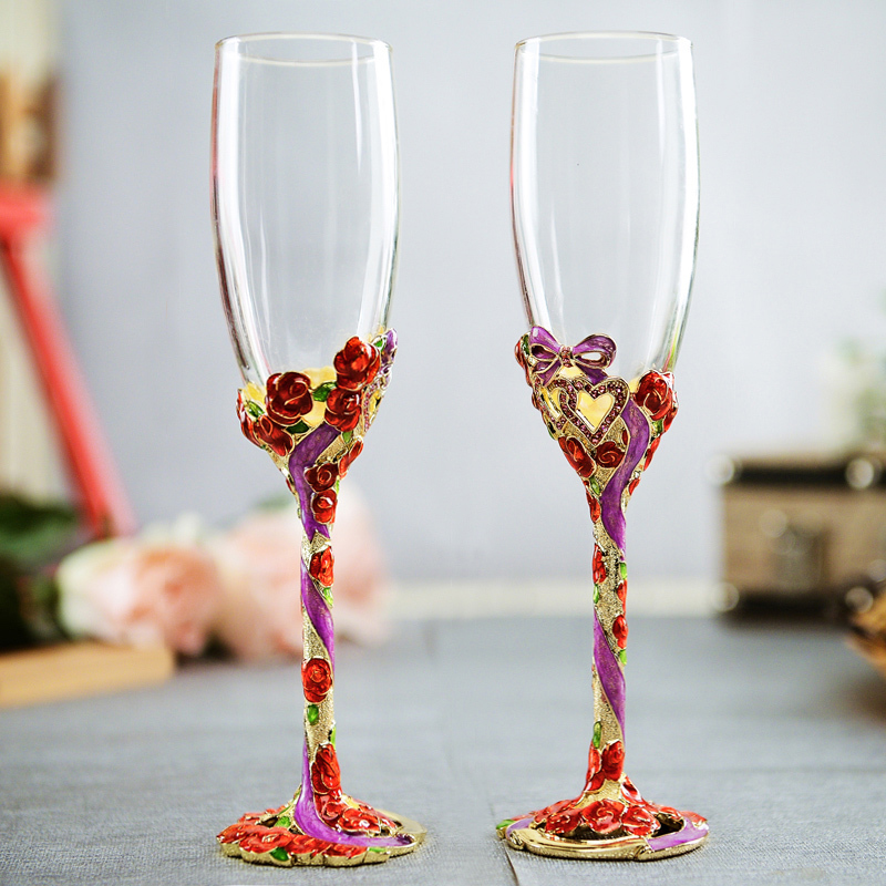 of the source crystal champagne Goblet of enduring as the universe wedding cup wedding wedding gift to send to friends(China (Mainland))