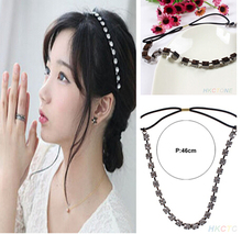 Women s Hair Jewelry Crystal Metal Rhinestone Head Chain Silver Headband Bridal Hair Accessories NA641