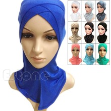 Free Shipping Muslim Cotton Full Cover Inner Hijab Cap Islamic Head Wear Hat Underscarf Colors(China (Mainland))