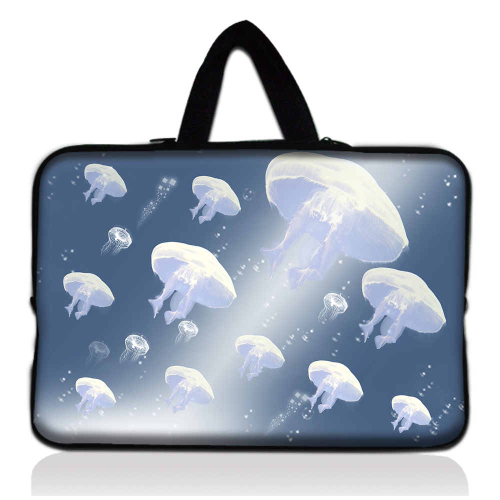 "Neoprene White Jellyfish Design 10"" Computer Handle Cover Pouch Laptop Portable Bag For Sony/HP(China (Mainland))"
